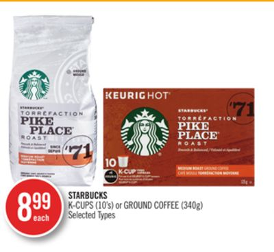 Starbucks K-cups (10's) or Ground Coffee (340g)