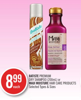 Batiste Premium Dry Shampoo (200ml) or Maui Moisture Hair Care Products