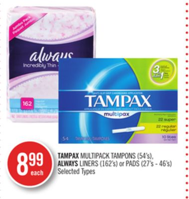 Tampax Multipack Tampons (54's) - Always Liners (162's) or Pads (27's - 46's)