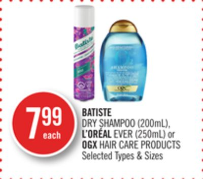 Batiste Dry Shampoo (200ml) - L'oréal Ever (250ml) or Ogx Hair Care Products