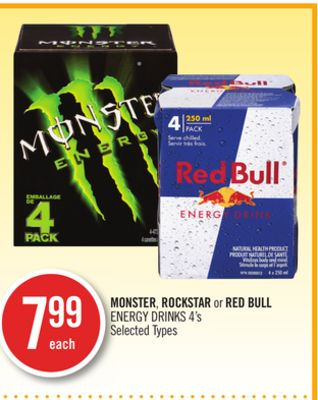Monster - Rockstar or Red Bull Energy Drinks