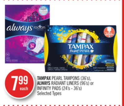 Tampax Pearl Tampons (36's) - Always Radiant Liners (96's) or Infinity Pads (24's - 36's)