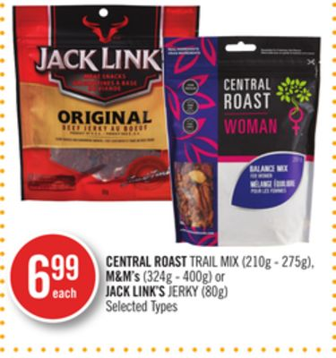 Central Roast Trail Mix (210g - 275g) - M&m's (324g - 400g) or Jack Link's Jerky (80g)
