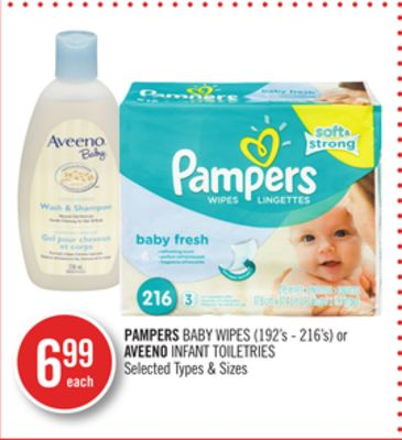 Pampers Baby Wipes (192's - 216's) or Aveeno Infant Toiletries