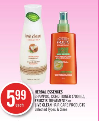 Herbal Essences Shampoo - Conditioner (700ml) - Fructis Treatments or Live Clean Hair Care Products