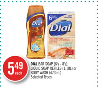 Dial Bar Soap (6's - 8's) - Liquid Soap Refills (1.18l) or Body Wash (473ml)