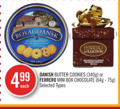 Danish Butter Cookies (340g) or Ferrero Mini Box Chocolate (64g - 75g)