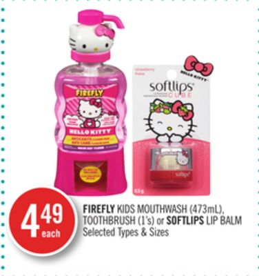 Firefly Kids Mouthwash (473ml) - Toothbrush (1's) or Softlips Lip Balm