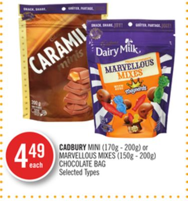 Cadbury Mini (170g - 200g) or Marvellous Mixes (150g - 200g) Chocolate Bag