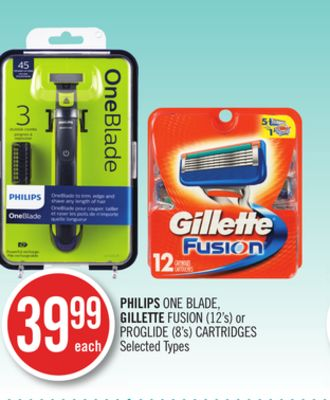 Philips One Blade - Gillette Fusion (12's) or Proglide (8's) Cartridges