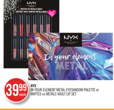 Nyx In Your Element Metal Eyeshadow Palette or Mattes Vs Metals Vault Lip Set