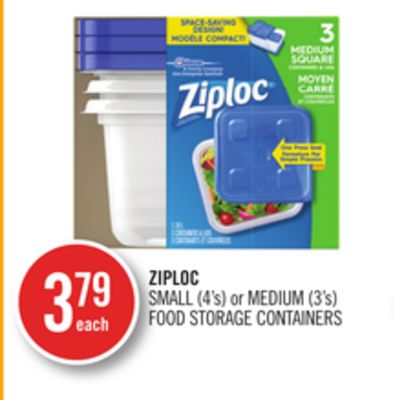 Ziploc Small (4's) or Medium (3's) Food Storage Containers