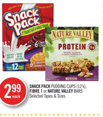 Snack Pack Pudding Cups (12's) - Fibre 1 or Nature Valley Bars
