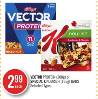 Vector Protein (200g) or Special K Nourish (165g) Bars