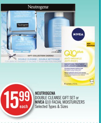 Neutrogena Double Cleanse Gift Set or Nivea Q10 Facial Moisturizers