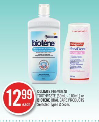 Colgate Prevident Toothpaste (39ml - 100ml) or Biotène Oral Care Products