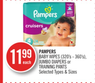 Pampers Baby Wipes (320's - 360's) - Jumbo Diapers or Training Pants