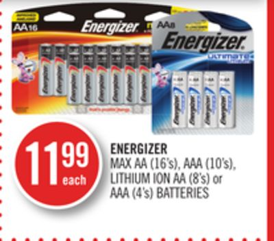 Energizer Max Aa (16's) - Aaa (10's) - Lithium Ion Aa (8's) or Aaa (4's) Batteries