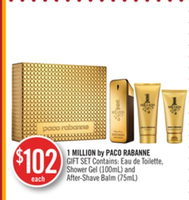 1 Million By Paco Rabanne Gift Set Contains: Eau de Toilette.shower Gel (100ml) and After-shave Balm(75ml)