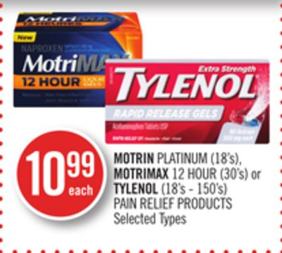 Motrin Platinum (18's) - Motrimax 12 Hour (30's) or Tylenol (18's - 150's) Pain Relief Products