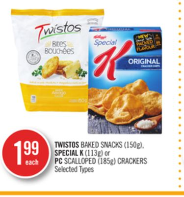 Twistos Baked Snacks (150g) - Special K (113g) or PC Scalloped (185g) Crackers