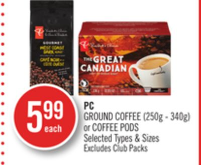 PC Ground Coffee (250g - 340g) or Coffee PODS