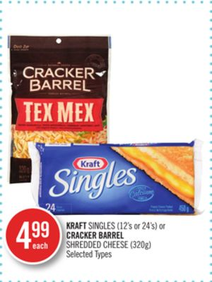 Kraft Singles (12's or 24's) or Cracker Barrel Shredded Cheese (320g)