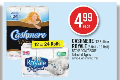 Cashmere (12 Roll) or Royale (8 Roll - 12 Roll) Bathroom Tissue