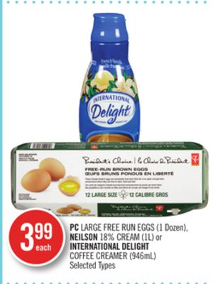 PC Large Free Run Eggs (1 Dozen) - Neilson 18% Cream (1l) or International Delight Coffee Creamer (946ml)