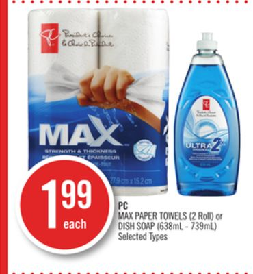 PC Max Paper Towels (2 Roll) or Dish Soap (638ml - 739ml)