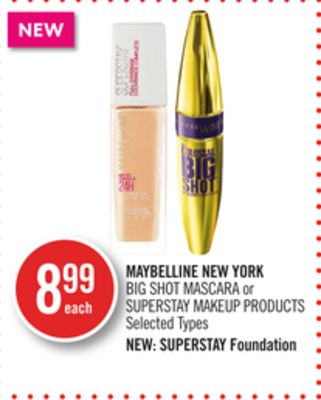 Maybelline New York Big Shot Mascara or Superstay Makeup Products