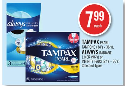 Tampax Pearl Tampons (34's - 36's) - Always Radiant Liner (96's) or Infinity Pads (24's - 36's)