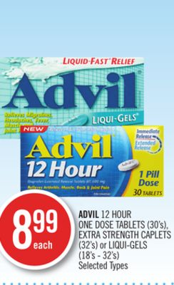 Advil 12 Hour One Dose Tablets (30's) - Extra Strength Caplets (32's) or Liqui-gels (18's - 32's)