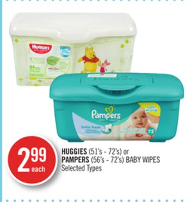 Huggies(51's - 72's) or Pampers (56's - 72's) Baby Wipes