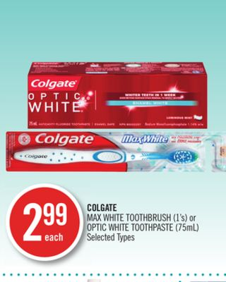 Colgate Max White Toothbrush (1's) or Optic White Toothpaste (75ml)