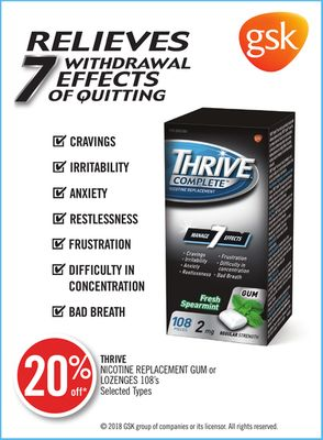 Thrive Nicotine Replacement GUM or Lozenges 108's