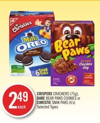 Crispers Crackers (75g) - Dare Bear Paws Cookies or Christie Snak Paks (6's)