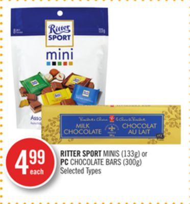 Ritter Sport Minis (133g) or PC Chocolate Bars (300g)