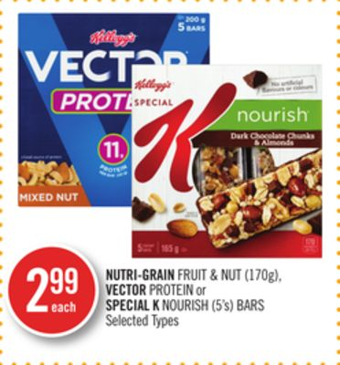 Nutri-grain Fruit & Nut (170g) - Vector Protein or Special K Nourish (5's) Bars