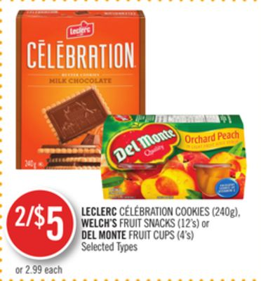 Leclerc Célébration Cookies (240g) - Welch's Fruit Snacks (12's) or Del Monte Fruit Cups (4's)