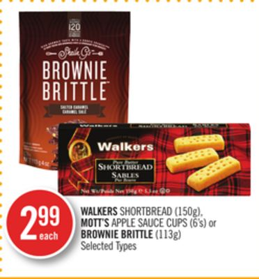 Walkers Shortbread (150g) - Mott's Apple Sauce Cups (6's) or Brownie Brittle (113g)
