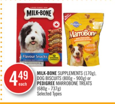 Milk-bone Supplements (170g) - Dog Biscuits (800g - 900g) or Pedigree Marrobone Treats (680g - 737g)