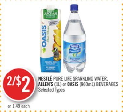 Nestlé Pure Life Sparkling Water - Allen's (1l) or Oasis (960ml) Beverages