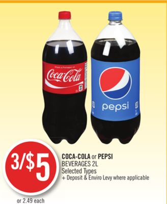 Coca-cola or Pepsi Beverages 2l