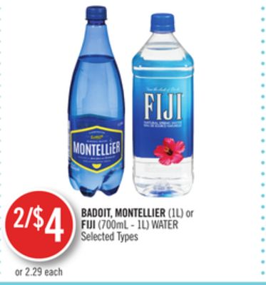 Badoit - Montellier(1l) or Fiji (700ml - 1l) Water