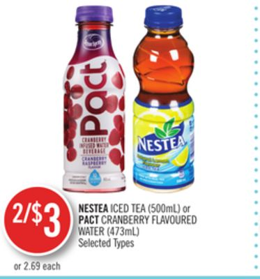 Nestea Iced Tea (500ml) or Pact Cranberry Flavoured Water (473ml)