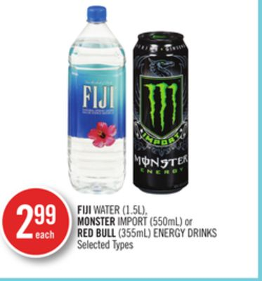 Fiji Water (1.5l) - Monster Import (550ml) or Red Bull (355ml) Energy Drinks