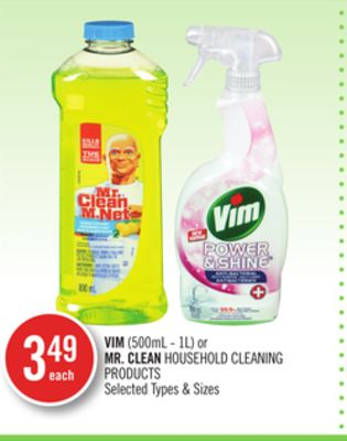 Vim (500ml - 1l) or Mr. Clean Household Cleaning Products