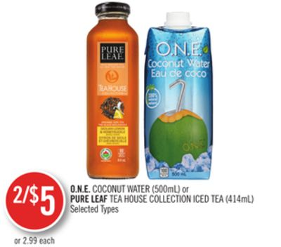 O.n.e. Coconut Water (500ml) or Pure Leaf Tea House Collection Iced Tea (414ml)