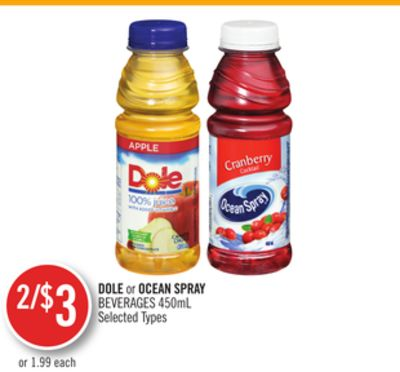 Dole or Ocean Spray Beverages